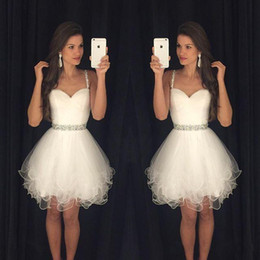 Wholesale Short Tulle Bead Homecoming Dress - 2016 Little White Homecoming Dresses Spaghetti Straps With Beads Tulle Cocktail Dresses Formal Party Dresses Prom Gowns For Women