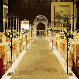 Wholesale dark red table runners wedding - 10M per lot 1M wide Fashion Gold Pearlescent Wedding Carpet T station Aisle Runner For Wedding Decoration Props Supplies Free Shipping