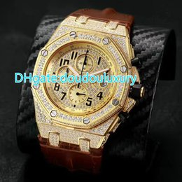 Wholesale Ice Chronograph Watch - Full iced out quartz chronograph full works watch mens brand luxury wristwatch brown leather band stainless steel OS chronograph watch