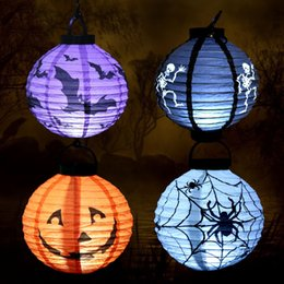 Wholesale Purple Paper Lanterns - 4pcs Halloween Pumpkin paper Lantern with Light Lamp Hallowmas Party Ornament Halloween party props decoration