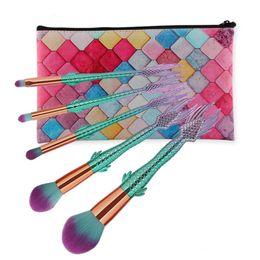 Top make-up pinsel gesetzt online-Meerjungfrau 5 teile / satz Make-up Pinsel Damen Kosmetik Foundation Mixer Gesicht Make-up Rose Gold Pinsel Set Top Qualität