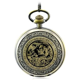 Wholesale Nostalgic Watch - Longfeng Chengxiang Dragon Totem Retro Pocket Watches Clamshell Mechanical Pocket Watch Men Women Student Nostalgic Memorial Wristwatch