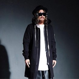 Wholesale Trench Coat Collar Up - British Fashion Warm Gothic Mens Pea Coat With Hood Long Black Male Trench Coat Hood Punk Jacket Men Windbreaker Overcoat
