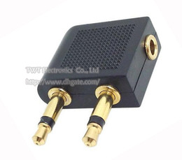 Wholesale Airplane Audio - GOLDEN Plated 3.5mm To 2 x 3.5mm Airline Airplane Headphone Earphone Audio Adapter Converter Free Shipping 10PCS