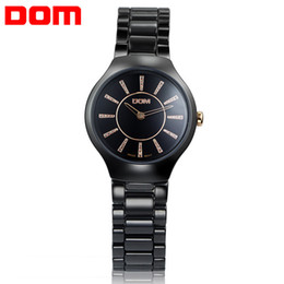 Wholesale Dom Ceramic - Watch women fashion luxury Brand Top Watches crystal Ceramic DOM T-520 lady quartz wristwatches dive 200m clock relogio feminino