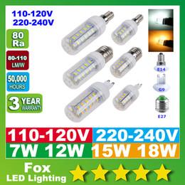 Wholesale Corn Cover 7w - LED Light Warm White E27 LED Bulbs 7W 12W 15W 18W 3000 Lumen Cree SMD 5730 With Cover E14 G9 lights Corn Lighting