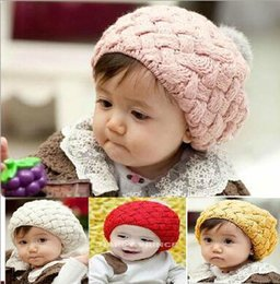 Wholesale red knit beret - High Quality baby girl kids knit crochet hat crochet cap crochet beret crochet beanie rhombus cute princess handmade hat knitting cap