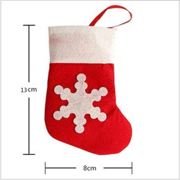 Wholesale Christmas Stocking Holders Wholesale - 12pcs Christmas Dinner Flatware Holders Mini Red Stocks With Snowflake Pattern Xmas Tree Decorations EWIN24 Hot Sale