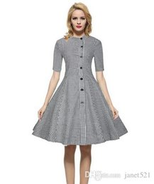 Wholesale Womens Red Plaid Dress - Vintage womens dresses stand collar 1 2 sleeve check pattern S-3XL cotton blended dresses in autumn