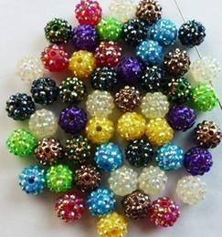 Wholesale Basketball Wives Necklaces - Mixed Random 15 Color 10MM Resin Rhinestonenkjk Shamballa Beads,Ball Chunky Beads for Necklace DIY Basketball Wives Jewelry p6463