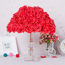 Wholesale Table Lamp Led Flowers - Foyer Reading sitting living room princess desk wedding LED table lamp rose flower marriage table light crystal table lamp