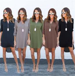 Wholesale Wholesale Bell Sleeve Dress - 2017 Summer Dress Women Sexy V-Neck Full Sleeve Asymmetrical Hep Plus Size Loose Casual Chiffon Dresses Vestido Maxi 4XL 5XL DHL Nx170909