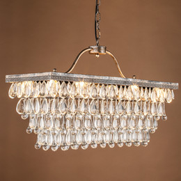 Wholesale Vintage Glass Bulb Pendants - Contemporary Modern Crystal Chandelier Light E14 Bulb Socket K9 Crystal Rectangular Chandelier Pendant lamp For Modern Home Decoration