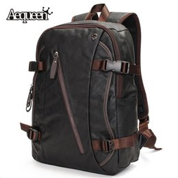 Wholesale Durable Fashion Backpack - Wholesale-Mens Backpacks Leather Shoulder Bags Outdoor Sports Travel Large Capacity Black Packsack Durable Fashion Bookbag Male Pack