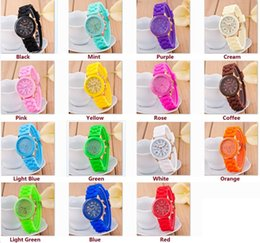 Wholesale Wholesale Men Colored Watches - Fashion Shadow Colored Style Geneva Watch Rubber Silicon Candy Jelly Fashion Men Wamen Silicone Quartz Watches free shipping
