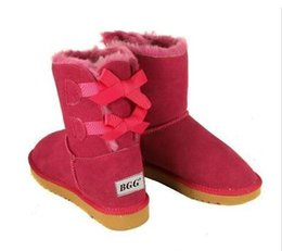 Wholesale Red Heelless Shoes - FREE SHIPPING NEW Australia classic tall winter boots real leather Bailey Bowknot women's bailey bow snow boots shoes boot
