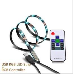 Wholesale Led Strip 12v 1m - 1M 5V USB LED strip 5050 RGB flexible light IP65 Waterproof 30LED m TV Background Lighting Strip with controller
