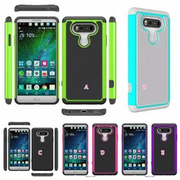 Wholesale Hybrid Impact Combo Ballistic Plastic - Ballistic Armor Shock proof Layer Rugged Football Dot Hybrid Case For LG V20  X Power Shockproof Hard PC+TPU Gel Combo Dual Impact Skin