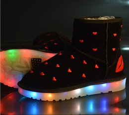 Wholesale Clear Colorful Boots - Winter Boots For Women LED Shoes Black Yellow Light Up Shoes Luminous Women USB Charging Colorful Glowing Shoes Short Floss Snow Boots