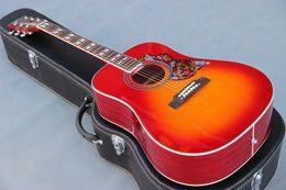 Guitarra acústica faz on-line-Cereja cor explosão 41 polegada humminbird guitarra acústica J, China fez guitarras, frete grátis