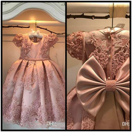 Wholesale Satin Sashes For Dresses - 2018 Flower Girl Dresses A Line Jewel Cap Sleeve Floor Length Girls Pageant Dresses With Lace Applique Beads Bow For Wedding Party Communion