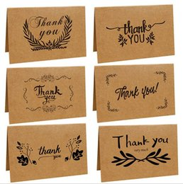 Wholesale Thank Cards Weddings - Vintage Brown Paper Kraft Paper Thank You Card Greeting Cards Wedding Party Festive Event Supplies 6 Styles OOA2748