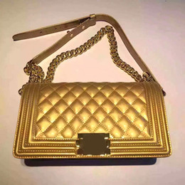 Wholesale Vintage Patent Leather Bags - Free shipping 25.5cm boy original pearl patent leather flap bag ladies single shoulder bag champagne gold blue color