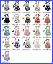 Wholesale Floral Dress Accessories - New Baby Lace Romper Straps dress 0-3T Polka Dot Floral Halter Romper +Hair Accessories 2pcs set Romper baby girls One-piece Infant Bodysuit