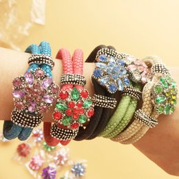 Wholesale Diy Charms Bracelets Leather - 5Pcs Multicolor Leather Jewelry Bracelets 5Pcs Rhinestone Crystal Snap Charm Buttons Rivca Charm Bracelet DIY Bracelets F347L