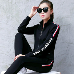 Wholesale Cardigan Long Girl - Hot Spring and Autumn Women's Fashion Black Sports Sets Girls Elegant Side Letter Casual Tracksuits
