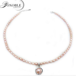 Wholesale Sterling Silver Small Pendants - Real freshwater natural pearl necklaces women,white pearl necklace pendant chunky adjustable small pearl necklace birthday gift
