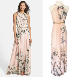 Wholesale Pink Sundress Women - With Belt Sexy Women Chiffon Dress Floral Print O Neck Sleeveless Party Beach Boho Long Maxi Dress Sundress Summer Dress Pink