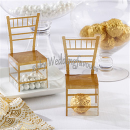 Wholesale Wedding Box Chair - Free Shipping 12pcs Wedding Faovrs Miniature Clear PVC Gold Chair Favor Boxes Party Favors Event Decor Supplies