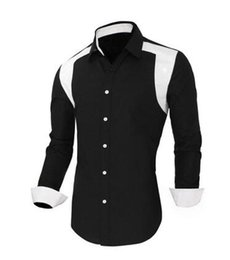 Wholesale Cheapest Black Striped Shirt - New 2016 Fashion style Cheapest Shirt Fashionable Slim Long Sleeves Color Block Splicing Man Shirt Black