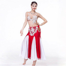 Wholesale Rhinestone Dance Bra Top - Stage Performance High Grade Egyptian Dancing Clothing 2-piece Outfit Rhinestone Peals Top C D Cup Belly Dance Costume Bra Skirt