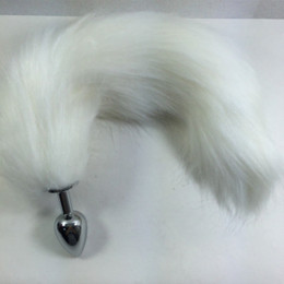 Wholesale Photo Toys - ZCZ 100% real photo White Fox Tail Fetish Butt Plug,Metal,Anal Toy Metal Butt Plug Steel,Sexy Toys anal Sex products WQ264