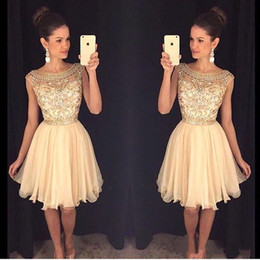 Wholesale high school homecoming dresses - Short Homecoming Dresses 2016 Cap Sleeve with Beads A Line Chiffon Knee Length Fashion Cocktail Gowns High School Prom Party Gowns BA3501