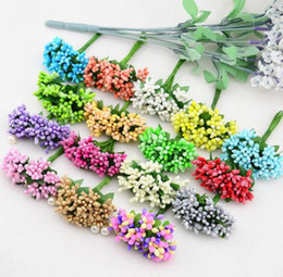 Wholesale Red Stamens - 12PCS lot Mulberry party Artificial Flower Stamen wire stem marriage leaves stamen DIY wreath wedding box decoration