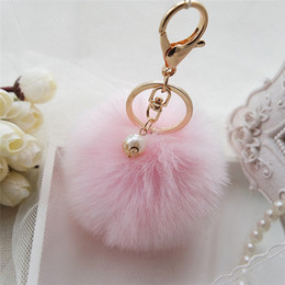 Wholesale Fur Movie - New Rabbit Fur Ball Keychain Bag Plush Car Key Ring Car Key Plush Pom Poms Ball Bag Car Ornaments Pendant Key Ring Toy
