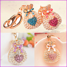 Wholesale Bling Key Rings - Trendy Gift Cute Bling Rhinestone Lucky Bag Keychain Car Love Key Chain Ring Pendant For Bag Charm