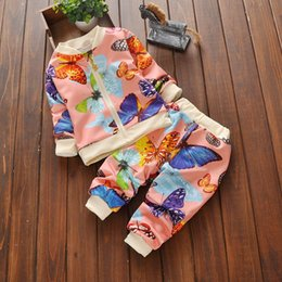 Wholesale Child Piece Winter Set - 2016 New Autumn Winter Kids Clothes Children Casual Clothing Set Baby Girls Colorful Butterfly Movement Suits Baby Clothes Set Girls Outfits