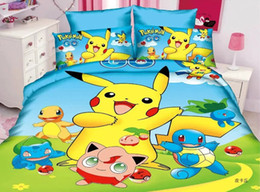 Wholesale Duvet Set Cotton - Wholesale- new arrival Pikachu 3d cartoon boys bedding set twin single size children bed linen 3pcs Duvet Cover Bed Sheet Pillowcase