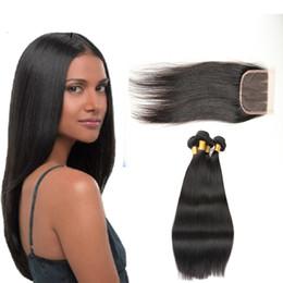 7A Pelo liso de Malasia 3 paquetes con cierre Tramas de cabello humano sin procesar virgen Extensiones de cabello Trato con longitudes mixtas desde fabricantes