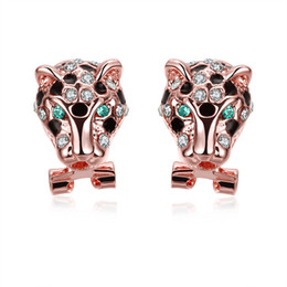 Wholesale Celebrities Earring - Celebrity Jewelry Rose Gold Plated Animal Tiger Head Of Diamond Crystal Stud Earrings for Women Ladies Girls Christmas Birthday Gift