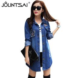 Wholesale Korean Jeans Jacket Women - Wholesale- Long Denim Jacket Women 2016 New Women's Jeans Jackets Korean Female Coat Hole Casual Women Outwear veste femme manche longue
