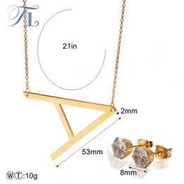 Wholesale Love Letters Earring - TL Stainless Steel English Letter Jewelry Sets For Women Letter A-E Unique Design Solid Silver & Gold Colors Love Party Jewelry