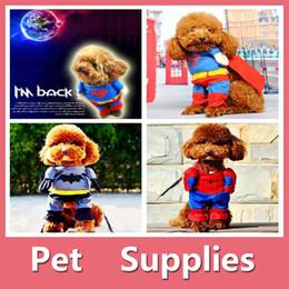 Wholesale Superman Batman T Shirt - Halloween Clothes Pet Dog Puppy Superman Batman Spiderman Hero Costume Cosplay Cat Outfit For 3 Types