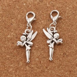 Wholesale Tibetan Silver Fairy - Flying Tinker Bell Fairy Lobster Claw Clasp Charm Beads 100pcs lot 48.8x14.7mm Tibetan silver Jewelry DIY C130