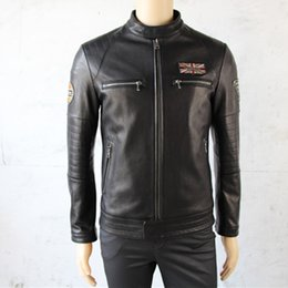Wholesale Goat Leather Jacket Men - Men's leather slim jackets Harley-man with the Goat Sheepskin leather soft and comfortable leisure genuine leather jacket