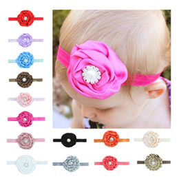 Wholesale Hair Band Diamond Pearls - Flowers Children Hair Band With Pearl Diamond Girls Headwrap For Photography Props Headband Black Red Purple 1 37ml B